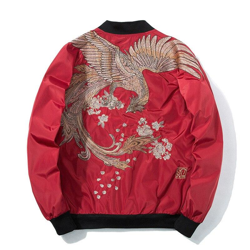 Spring Pilot Bomber Jacket  Men Women Bird Embroidery Baseball Jacket Fashion Casual Youth Couples Coat  Japan Streetwear