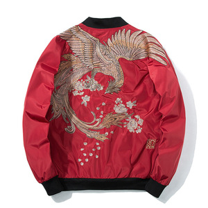 Image 4 - Spring Pilot Bomber Jacket  Men Women Bird Embroidery Baseball Jacket Fashion Casual Youth Couples Coat  Japan Streetwear
