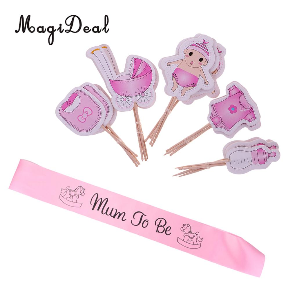 Pink Mum to be Satin Sash Rocking Horse Baby Shower Party Sash 20 Pieces Baby Girl Clothes Pram Paper Cupcake Picks Cake Toppers