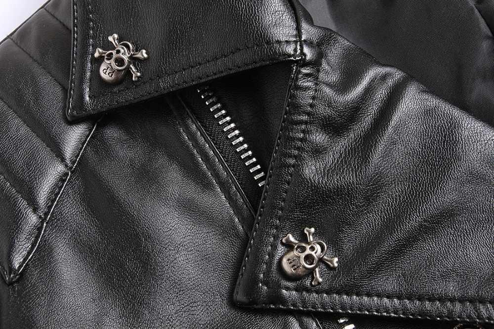 NIANJEEP 2018 新しいスカルリベットスタッズパンクロック黒バイカーオートバイプラスサイズ 4XL 5XL ボタン頭蓋骨