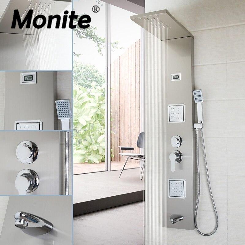MONITE UK Shower Column With Massage Jets Solid Brass Bathroom Rainfall Shower Head W/Hand Sprayer Faucet Shower Set Faucets