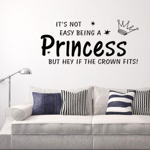 Lovely baby girls princess letter print removable wall sticker nursery room decor decal art mural in wall stickers from home garden on aliexpress com