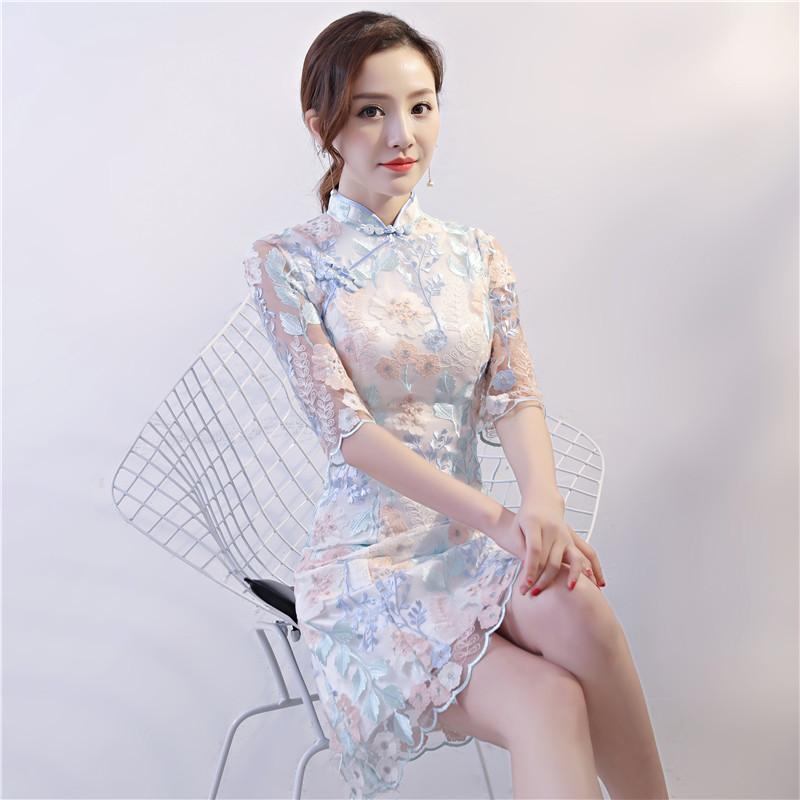 Style chinois mariage Mini Cheongsam rétro Sexy Slim soirée robe de soirée robe Qipao Vintage femmes broderie vêtements Vestidos