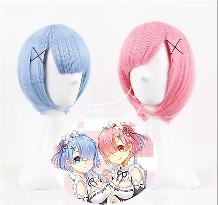 Anime Re:Life In A Different World From Zero Ram Rem Short Blue Pink Wig Cosplay Costume Prop