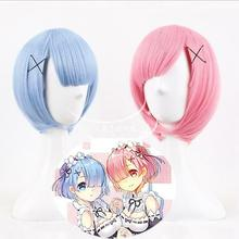 Anime Re:Life In A Different World From Zero Ram Rem Short Blue Pink Wig Cosplay