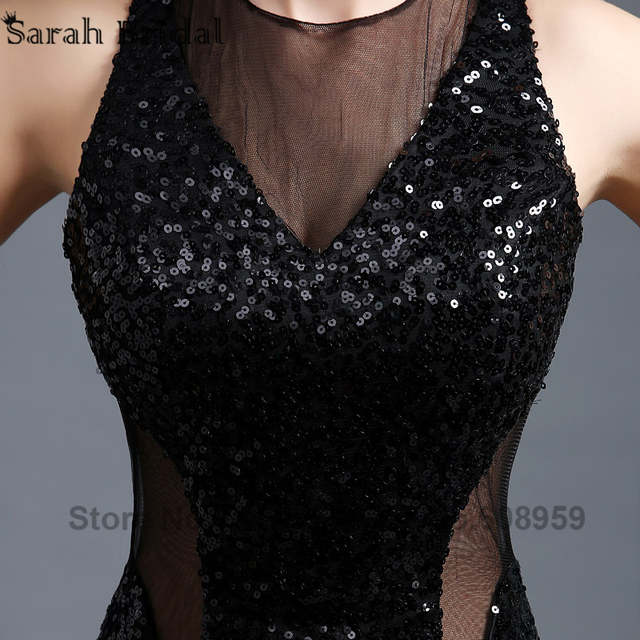 8a1b9a1f1 Sexy Cut Back Gold Sequined Mermaid Prom Dresses Sheer Black Long Party  Gowns Illusion Corset Vestidos