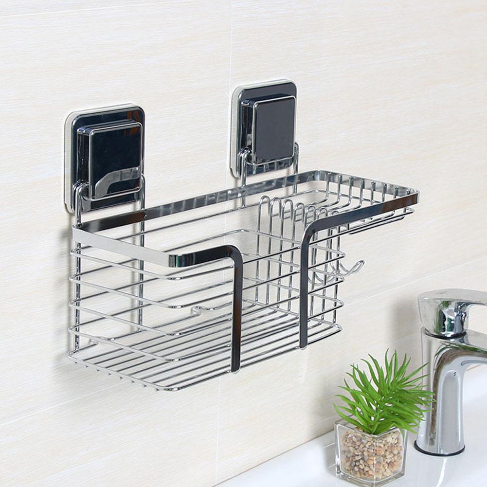 Stainless Steel Bathroom Shower Sink Soap Dish Holder Basket Shelves ...