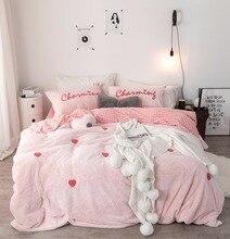 White Gray Pink Love Printing Fleece Fabric Girl Bedding Sets Soft Velvet Flannel Duvet Cover Plaid Bed sheet/Linen Pillowcases