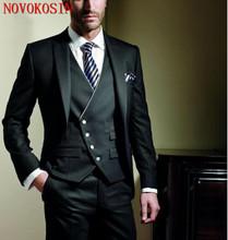 2019 Three-Piece New Fashion Men Black Vest Off-Center Button Custom Made Wedding Groom Suits Tuxedo Slim Fit Business Suit