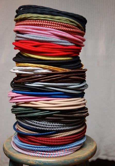 10 Mètres Multicolore 2 Noyau 0.75mm2 Textile Fil Électrique Couleur Fil  Tressé Recouverte De Tissu