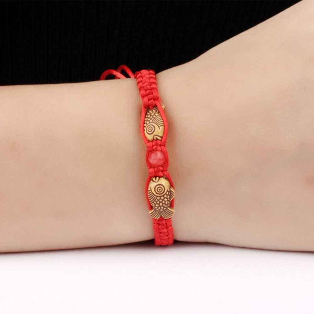 1pc Hot Feng Shui Red String Lucky Wooden Twin Fish Charm bracelet red thread for Good Luck Wealth Handmade Jewelry