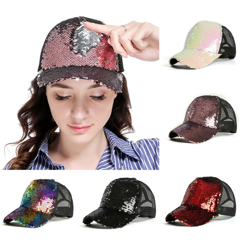 <font><b>Glitter</b></font> <font><b>Ponytail</b></font> <font><b>Baseball</b></font> <font><b>Cap</b></font> <font><b>Women</b></font> Snapback Hip Hop <font><b>Caps</b></font> Female Sequins Shine Summer Hats Mesh Outdoor Hat Bone F1 image