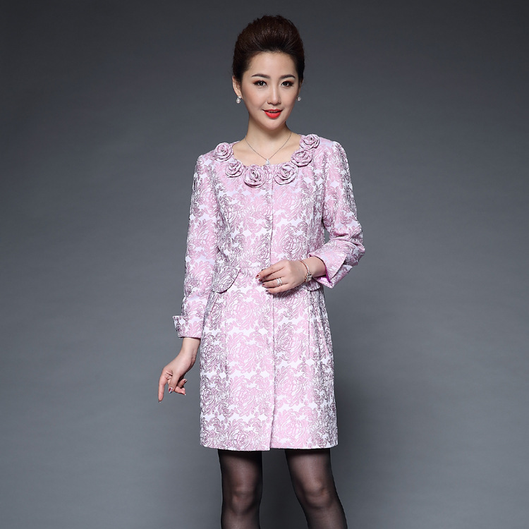 Grande taille M-4XL 2017 Trench Coat femmes tranchées mode femmes slim vintage rose Dobby tissu pardessus