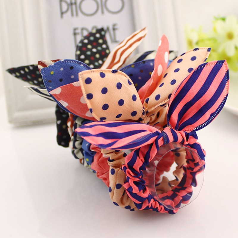 HTB1kaNwKXXXXXbQXFXXq6xXFXXXt Cute Polka Dot Rabbit Ears Hair Tie For Women - Various Styles