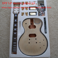 DIY LP Style Electric Guita Flame Maple Veneerr+Mahogany Okoume Body Neck Rosewood Fingerboard