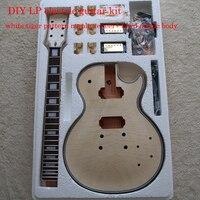 DIY LP Style Electric Guita Flame Maple Veneerr+Mahogany Okoume Body Neck Rosewood Fingerboard