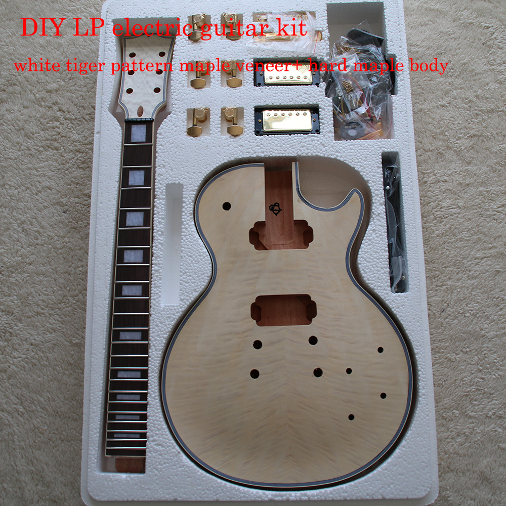 White Tiger Pattern 3A Grade Maple Veneer LP Style Electric Guitar DIY Kit African Mahogany Okoume Body Neck Rosewood Fretboard hot sale lp standard electric guitar les tiger maple cover mahogany body real paul guitar high quality free shipping