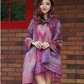 2016 Nueva Franja de Moda Étnica Geométrica Mujeres Del Cabo Del Batwing Poncho Knit Top Cardigan Sweater Coat Hip Mantón de La Bufanda XQ1911