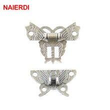 NAIERDI-loquet à loquet en Bronze, Antique, conception de papillon, bijoux, boîte en bois, armoire à serrure, étui à boucle, quincaillerie de poignée, 2 pièces