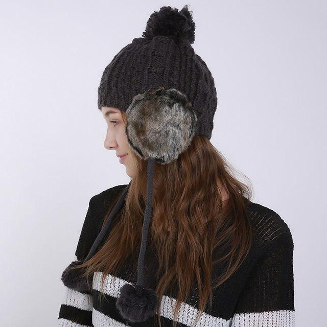 c467870f9ed Creative Design Women Warm Crochet Winter Wool Knit hats Ski Beanie Caps Hat  Protect Ears Hairy Bulb fur winter hats for women