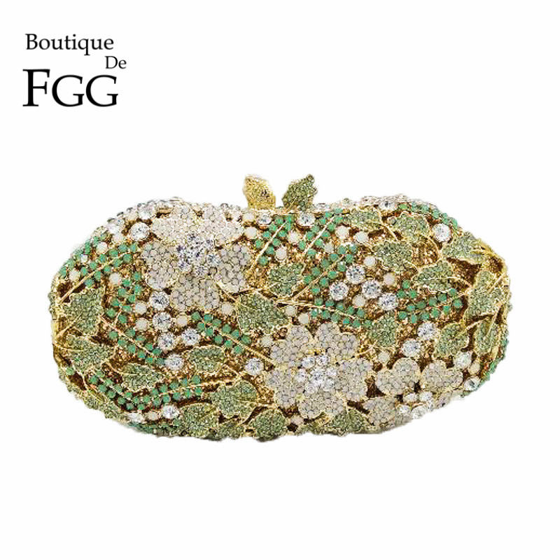 Elegant Green Crystal Flower Clutch Women Evening Bags Gold Plated Bridal Metal Clutches Wedding Party Handbags and Purses Bolso bridal wedding flower clutch crystal bags metal gold women evening clutches party cocktail dinner minaudiere bag smyzh e0328