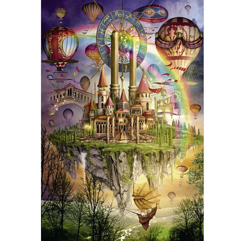 Puzzle papier 1000 pièces noël arc-en-ciel ville Puzzle pour enfants et adultes