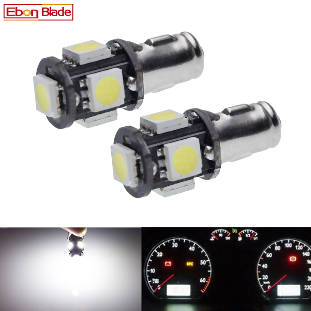 2X Car LED Lights Bulbs Instrument Panel Dash Light Bulb BA7S LLB281 GLB281 5 SMD 6V 12V Dashboard Lamp White 6000K Auto Styling image