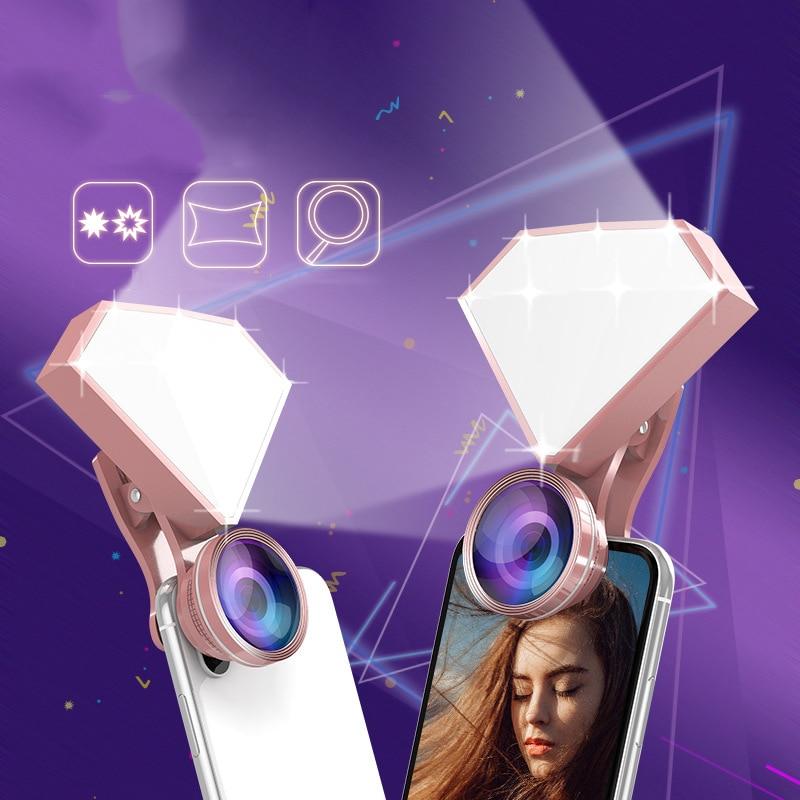 4K HD lens Fill Light 150 wide angle 180 fisheye 50X macro Clip-on mobile Phone Camera Lens Kit for apple iPhone x 7 Samsung s8