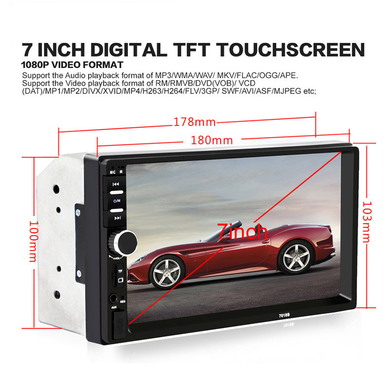 7 Bluetooth2 0 2DIN Car Radio Audio Stereo Player Handsfree TFT Taouch Screen 7018B Car MP5
