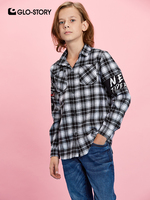 GLO STORY Children Boys 2019 Long Sleeve Flannel Shirts Boy Casual Streetwear Plaid Shirt Blouse Tops Kids Clothes 8295