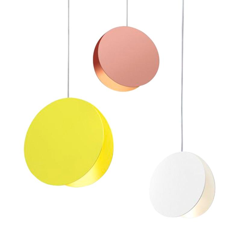 Nordic post modern pendant lights round macaron colors deco pendant lamp living room restaurant LED lighting metal droplight