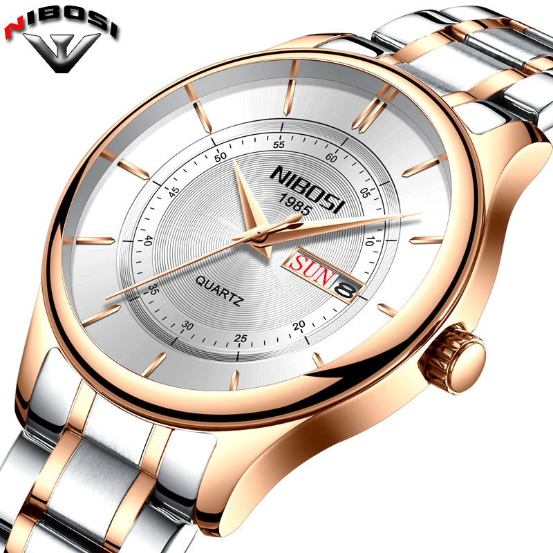 Nibosi Top Brand Luxury Men Stainless Steel Waterproof Sports Watches Men's Quartz Analog Clock Male Wrist Watch reloj hombre fashion top gift item wood watches men s analog simple hand made wrist watch male sports quartz watch reloj de madera