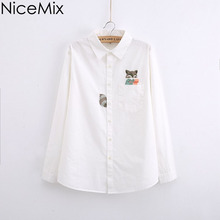 NiceMix 2016 Spring Autumn Blusas Casual White Women Blouses Slim Kawaii Pocket Fox Embroidery Tops Shirt 780002