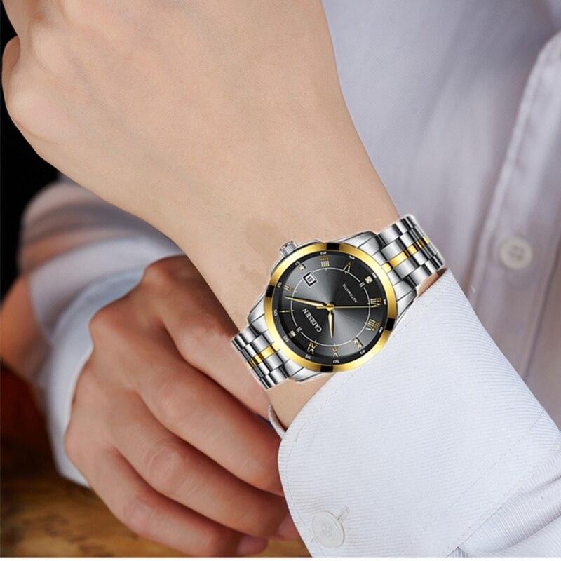 CADISEN Top marque hommes affaires montre mécanique automatique Date étanche horloge hommes en acier inoxydable montre-bracelet Relogio Masculino - 5