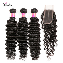 Peruvian Deep Wave Hair Bundles With Closure 100% Human Hair With Lace Closure Middle Part 2X4 Meetu Non Remy Hair Extensions
