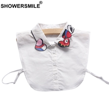 SHOWERSMILE Detachable Collar Women Red Heart Embroidery Removable Ladies Cotton Fashion White Sweater Fake Shirt