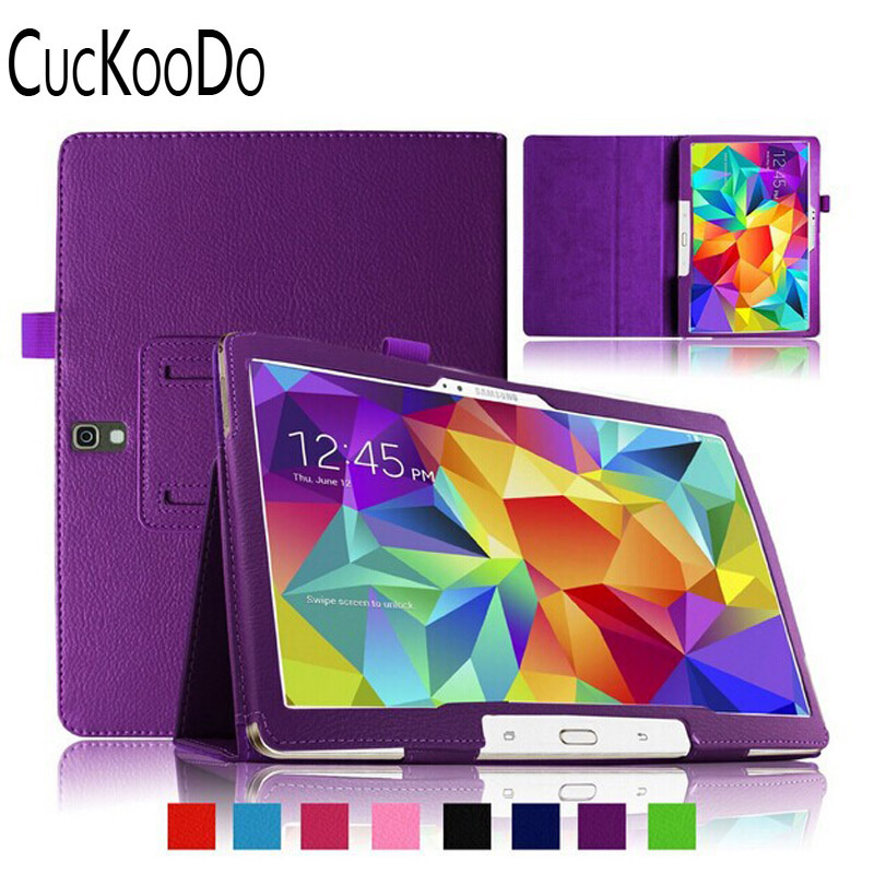CucKooDo 100pcs/lot Slim-Fit Folio PU Leather Smart Cover Case for Samsung Galaxy Tab S  ...