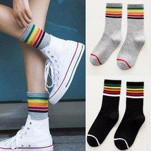 Trendy Rainbow Stripe Printed Cotton Socks Ladies Women Middle Length Casual Soft Harajuku Socks Sports Warm Socks