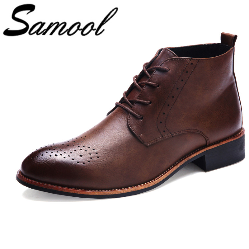 Men Casual Shoes Boots Summer Split Leather 2018 High Top Shoes Men Fashion Men Boots Brogues Ankle Motorcycle Boots E4 new arrival patent pu leather men fashion shoes spring autumn summer ankle boots shoes men high top men boots flats shoes