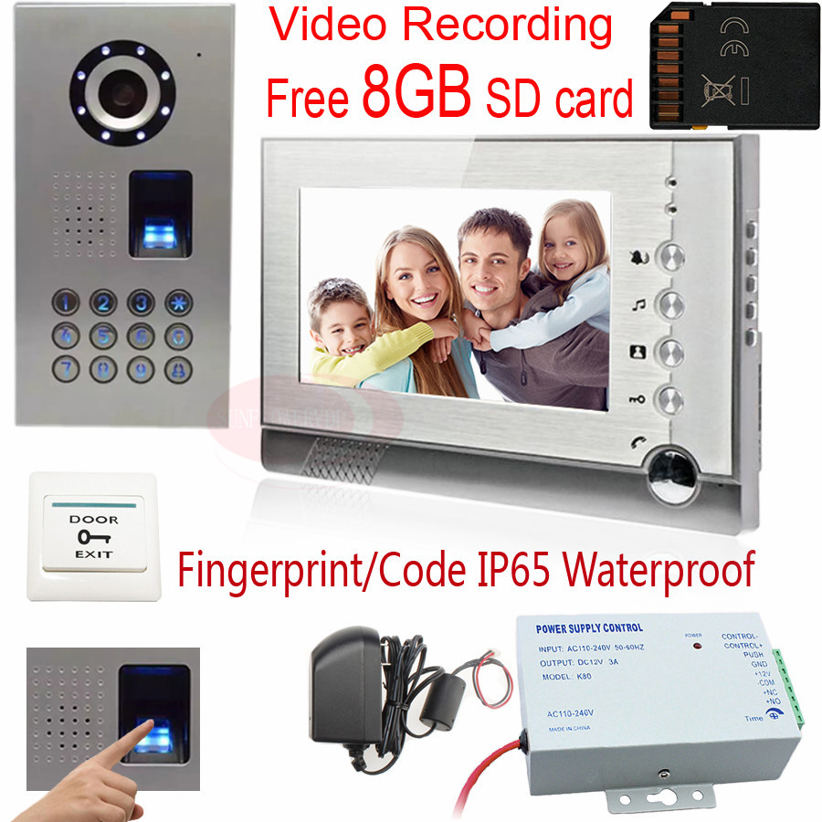 Video Intercom Video Recording Fingerprint recognition Password unlock 8GB SD Card 7Inch Color TFT LCD Door