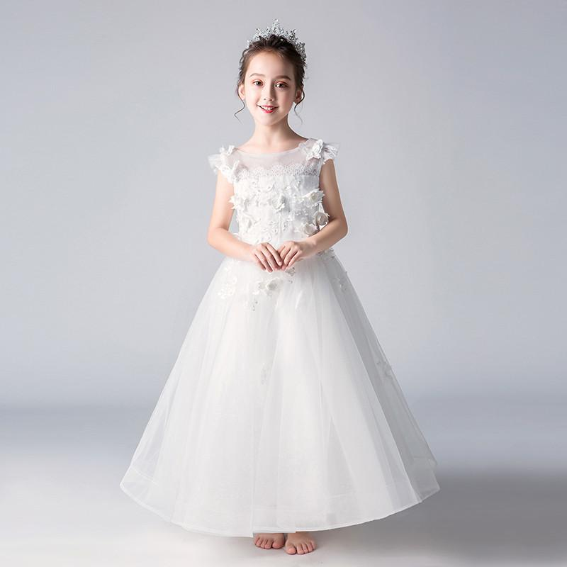 2019 New Kids Girl Pearls Pageant Princess Party Dress Children Lace Mesh Prom Trailing Vestido Teen Girl Sequins Ball Gown Q8052019 New Kids Girl Pearls Pageant Princess Party Dress Children Lace Mesh Prom Trailing Vestido Teen Girl Sequins Ball Gown Q805