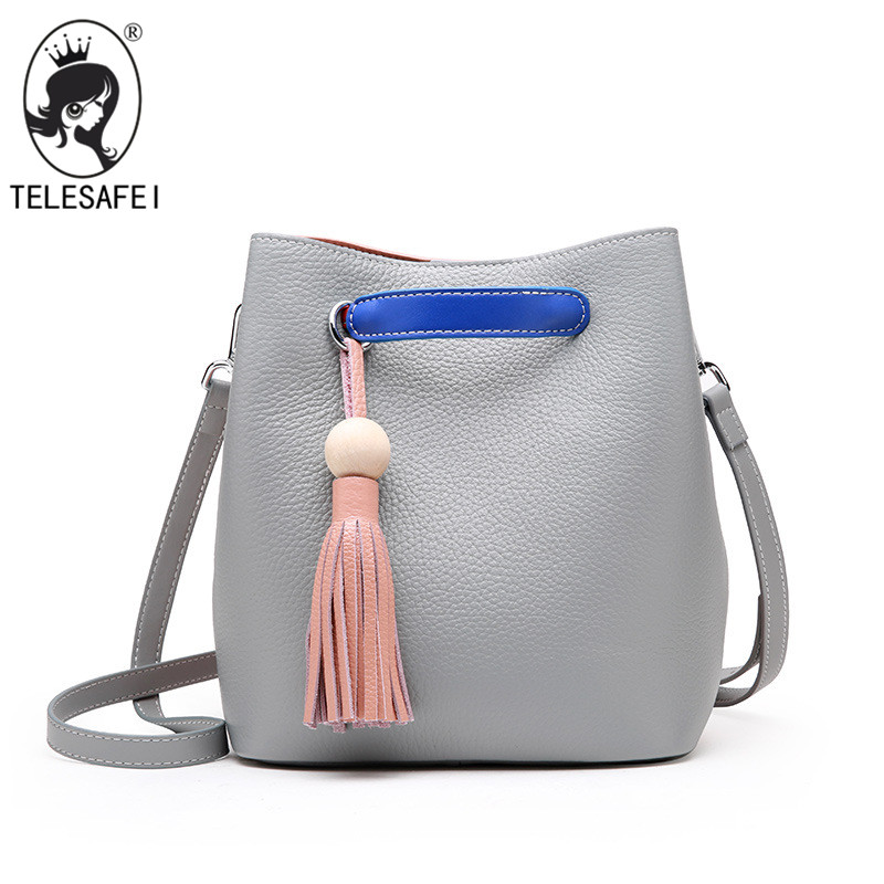 Fashion leather handbag Crossbody Bag summer leather color all-match tassel simple lady Bucket Bag all summer long