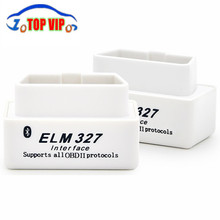 Big Discount!!Top selling SUPER MINI ELM327 Bluetooth OBD2 V2.1 White Smart Car Diagnostic Interface ELM 327 Wireless Scan Tool