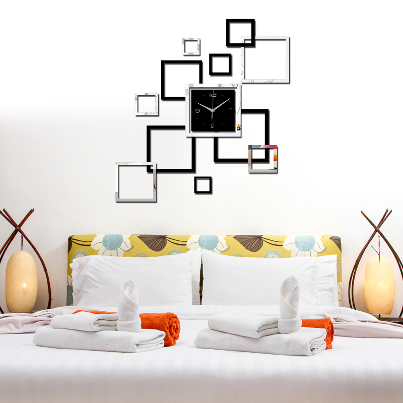 modern clocks for living room. 2016 living room new wall clock 3d diy clocks home decoration watch horloge  murale quartz acrylic mirror stickers free shipping in Wall Clocks from Home