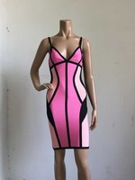 2016 new arrival summer dress multicolor spaghtti strap bodycon HL bandage dress club dresses vestidos