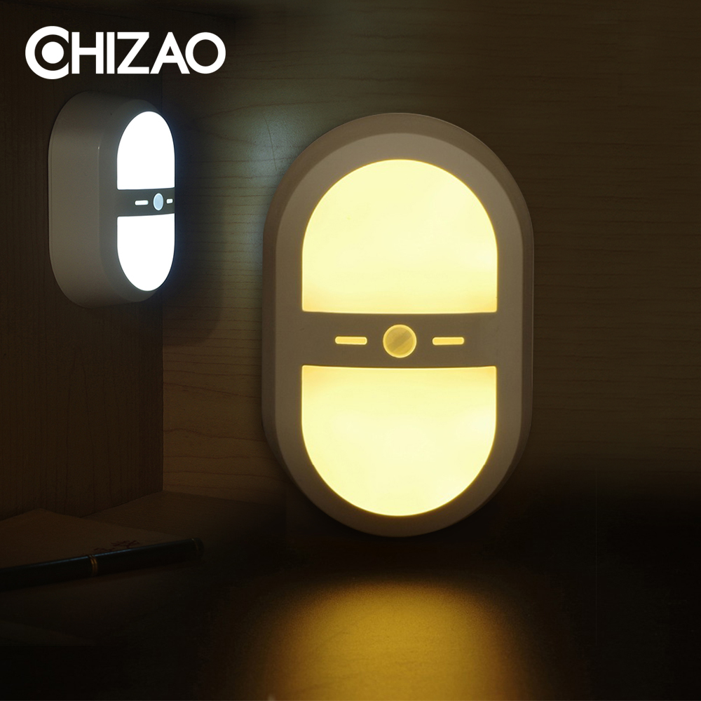 [CHIZAO] Sensor night light Motion wireless sensor lamp 3pcs AA-Battery Warm/Pure(Cold) white light colors Home simple lighting