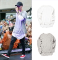 Hipster men justin bieber clothes streetwear brand clothing  long sleeve plain extended t shirt curved hem tee