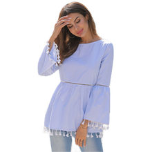 New 2019 Women's Tassel Blouses and Shirts Dots Striped Casual Women Blouse Spring Summer Blusas Femme(China)