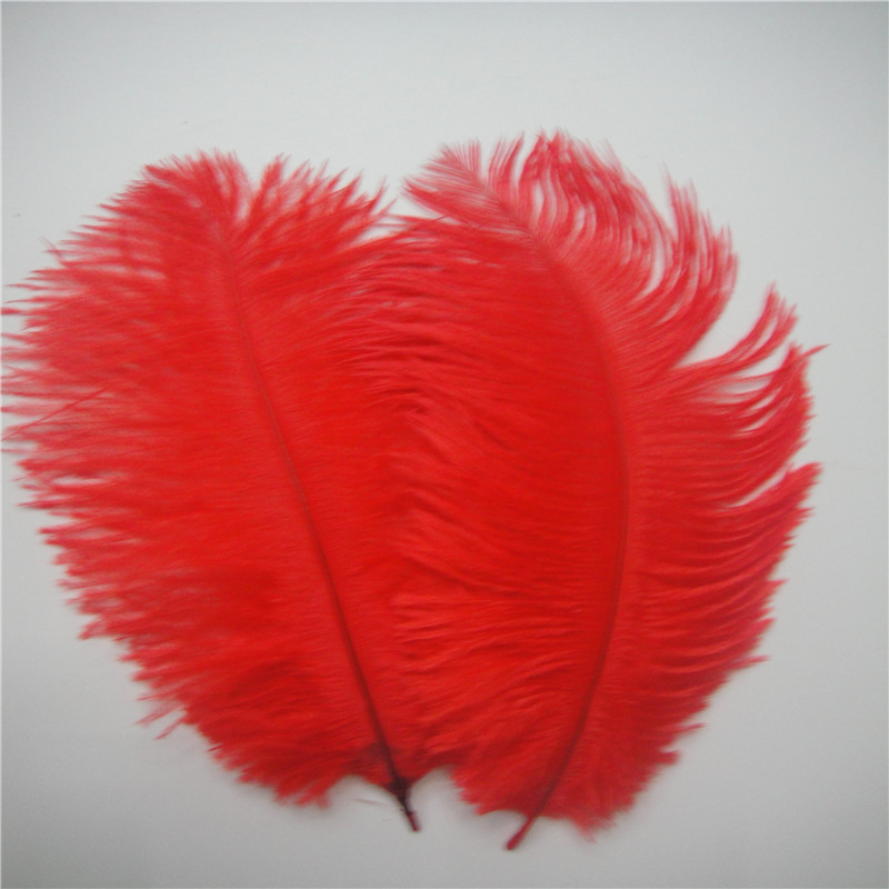 50 PCS beautiful natural 15-20 cm (4 to 6 inches) dye red feather ostrich hair DIY decoration process