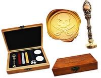 Vintage Skull Cross Sword Custom Luxury Wax Seal Sealing Stamp Brass Peacock Metal Handle Sticks Melting